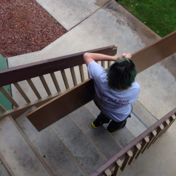 carrying down stairs